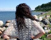 Lace Triangular Shawl Natural White Cotton Hand Crochet in Estonia