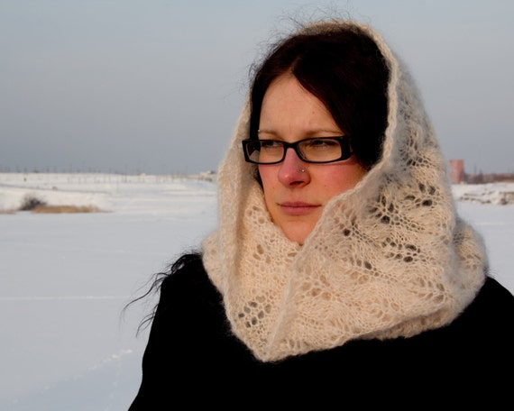 Natural white mohair lace cowl hand knit in Estonia