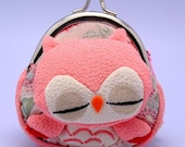 SALE Super cute pink sleeping owl - small clutch / coin purse