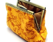 Floral pattern on golden yellow - Small clutch / Coin purse