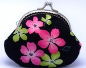 Green and pink flowers on black - Small clutch / Coin purse (S-176)