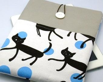 iPad Air case 2, iPad cover, iPad sleeve/ Samsung Galaxy Tab 3 10.1 with 2 pockets, PADDED - Black Cats