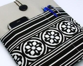 iPad Air case, iPad cover, iPad sleeve/ Samsung Galaxy Tab 3 10.1with 2 pockets, PADDED - Black and White Pattern
