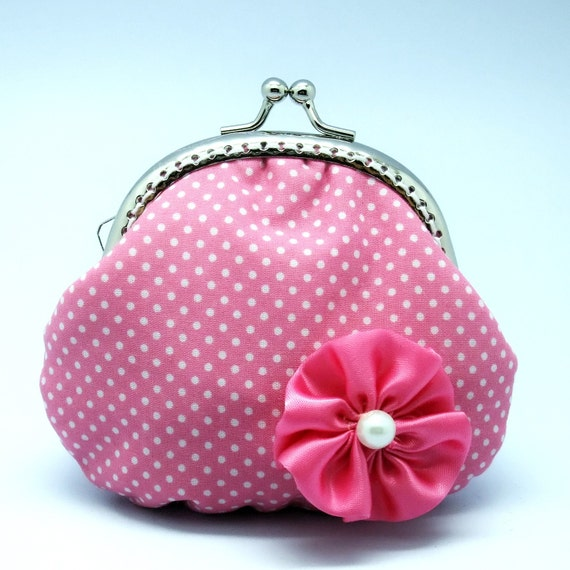 White spots on pink - small clutch / Coin purse (S-058)