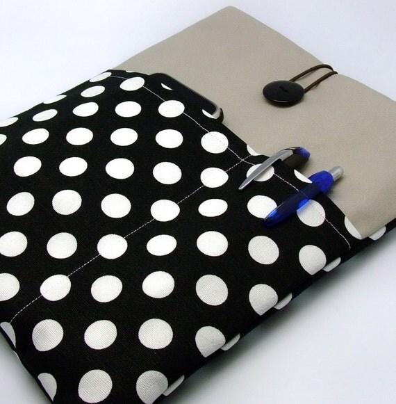 iPad case, iPad cover, iPad sleeve with 2 pockets, PADDED - White polka dots on black