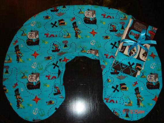 Boppy pillow slipcover cover burp cloth pirate print gift set.