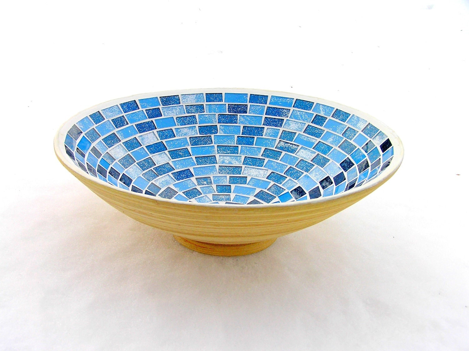 Blue bowl glass mosaic home decor by sirlimosaic on etsy for Mosaic home decor