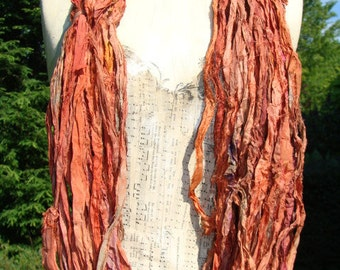 Beautiful Reddish Brown Sari Ribbon 100 Gram Skein