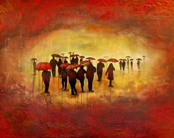 """Going Somewhere - 12""""x16"""" MOUNTED, Rain art, Rain Painting"""