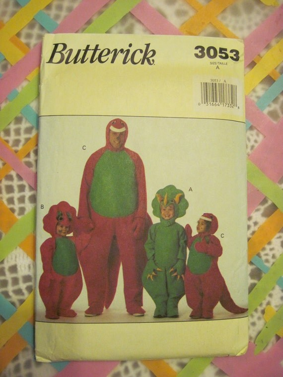 Butterick Pattern 3053  Barney Costume Dinosaur (Sz. A,) Boy or Girl