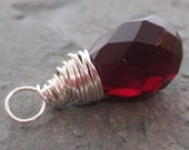 Faceted Red Garnet Glass Briolette Pendant Dangle Wire Wrapped with Sterling Silver Wire