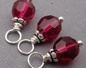 July Birthstone Charms, Ruby Swarovski Crystal Charms, Wire Wrapped Dangles, Stitch Markers, 6mm Swarovski Crystal Beads