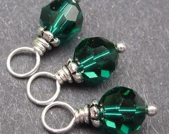 Emerald Swarovski Crystals, Birthstone Charms, Swarovski Crystal Birthstone Charms, Crystal Bead Drops, Stitch Markers, May Birthstone,  6mm