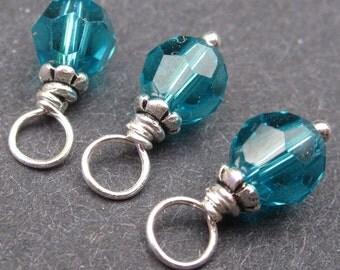 Swarovski Crystal Birthstone Charms, Blue Zircon, Stitch Markers,  Bead Dangles, December Birthstone Jewelry, 6mm Swarovski Crystal Beads