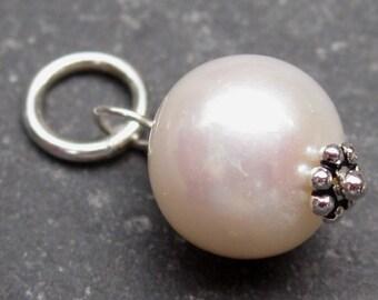 Pearl Charm, Bracelet Charm, Interchangeable Necklace Charm, Birthstone Charm, 8mm Freshwater Pearl, Wedding Jewelry, Bridal Jewelry