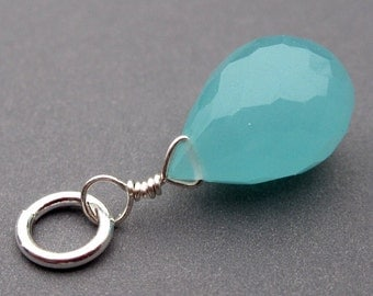 Teardrop Briolette Pendant Dangle Aqua Blue Chalcedony with Sterling Silver Wire Simple Loop and Sterling Silver Jump Ring