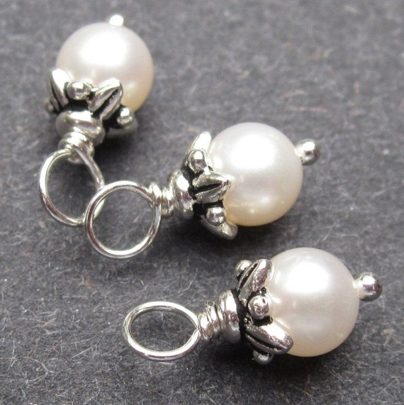 Freshwater Pearl Dangle Charms Wire Wrapped with Flower Bead Caps 6mm