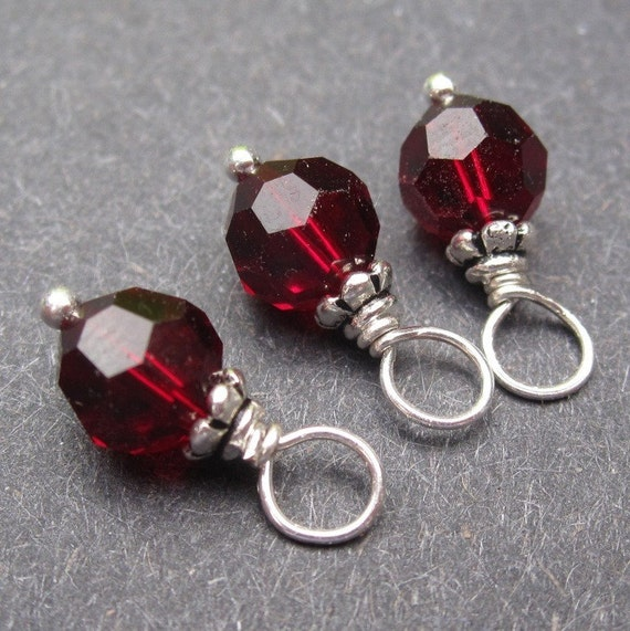 Garnet Swarovski 6mm Crystals Wire Wrapped Dangles  Birthstone Charms with Petite Bead Caps