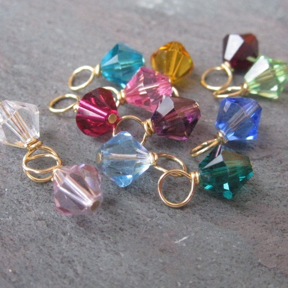 Swarovski Crystal Dangles Birthstone Charms Bicone Mix 6mm Wire Wrapped in Gold CHOOSE THREE