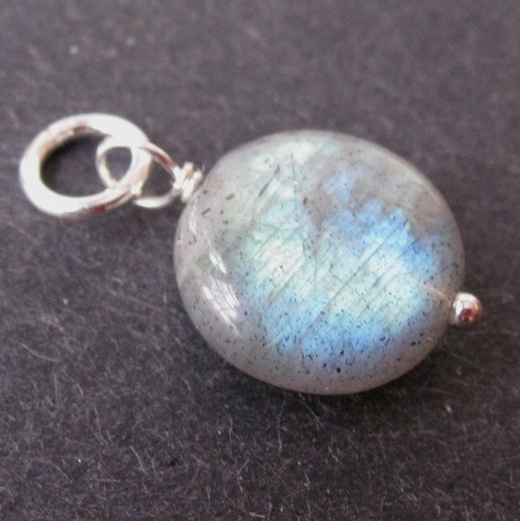 Sterling Silver Wire Wrapped Labradorite Pendant Dangle with Sterling Silver Jump Ring