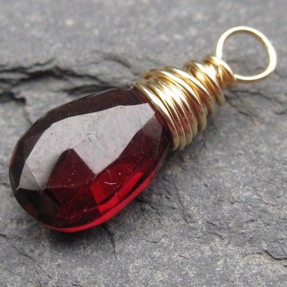 Deep Red Garnet 14k Gold Wire Wrapped Briolette Pendant Dangle