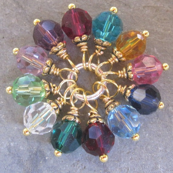 Birthstone Charm Swarovski Crystals Gold Wire Wrapped Dangles Set of 12