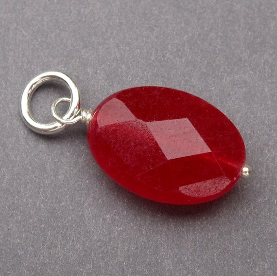 Pendant Ruby Red Quartz Wire Wrapped Pendant Dangle Charm with Sterling Silver Jump Ring