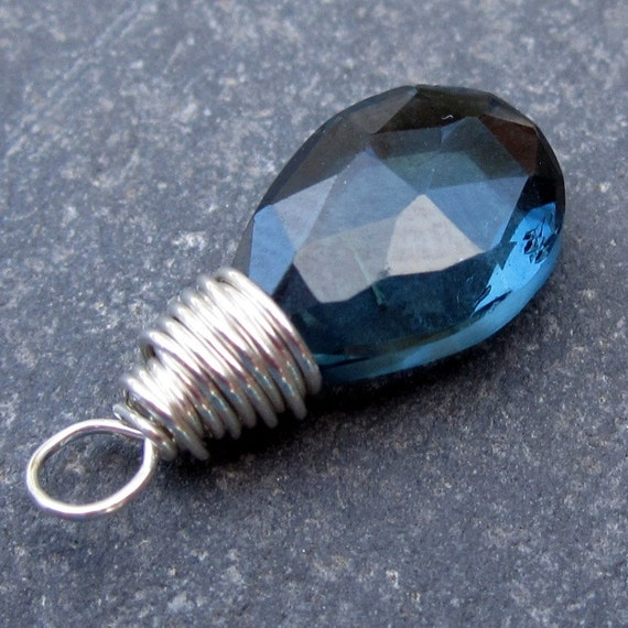 London Blue Topaz Sterling Silver Wire Wrapped Gemstone Briolette Pendant Dangle Charm