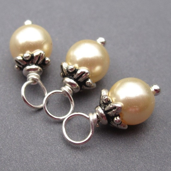 Light Gold Swarovski Crystal Pearls Wire Wrapped Dangles Charms with Flower Bead Caps 6mm