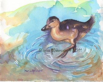 Original signed watercolor painting of duck on the water