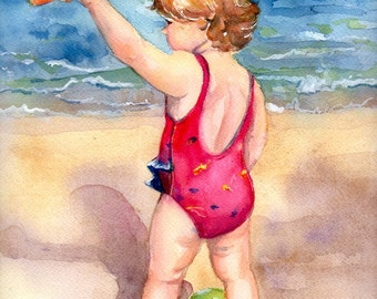 beach girl painting on the beach in watercolor art Happy Day