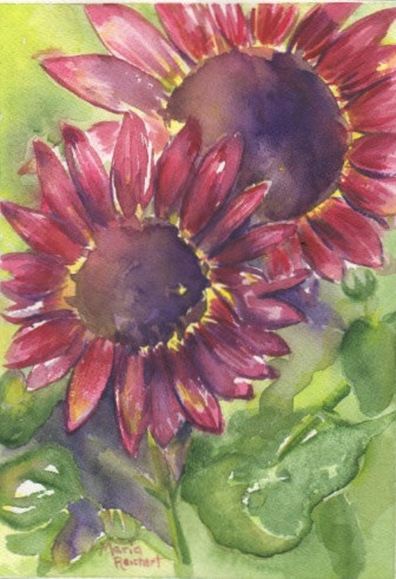 """art, original painting, watercolor sunflower, """"Right Behind You"""""""