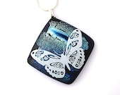 Fused Dichroic Glass Necklace Dichroic Fused Glass Jewelry butterfly silver blue turquoise lavender P202