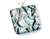 Dichroic Jewelry Fused Glass Necklace Fused Glass Pendant Fused Dichroic Glass Necklace tree of life blue silver turquoise purple P157