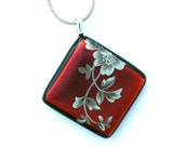 P730 Dichroic Fused Glass Pendant Necklace Fused Dichroic Glass Jewelry cherry red white flower