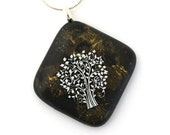 Dichroic Fused Glass Pendant Necklace Fused Dichroic Glass Jewelry tree of life on gold leaf black P94