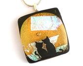 Fused glass dichroic necklace dichroic pendant dichroic jewelry moon cats gold yellow P80