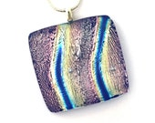 Dichroic Fused Glass Jewelry Fused Dichroic Glass Pendant Necklace wavy pink silver blue P97