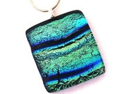 P933 Fused Dichroic Glass Necklace Dichroic Fused Glass Jewelry Fused Glass navy blue turquoise green