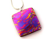 P941 Dichroic Fused Glass Pendant Necklace Fused Dichroic Glass Jewelry purple pink orange