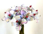 Pastels and Brights Stripes Paper flower bouquet lilies - dozen (12) flowers and wine bottle vase