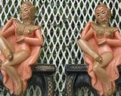 Pair of ESCO Pink Asian Dancer Chalkware Bookends