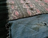 Table or floor rug made from handwoven Indonesian ikat textiles and recycled denim - GENUINE IKAT