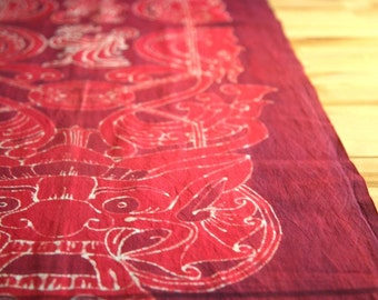 Vintage Indonesian handwoven handpainted batik textile from Bali - table runner or wall hanging
