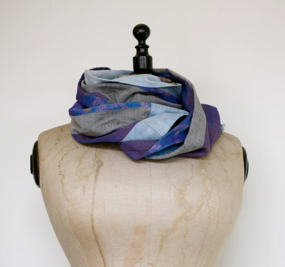 Unisex scarf made from Indonesian handwoven fabrics and recycled denim - GENUINE IKAT