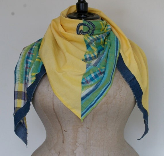 Sample Sale!  50% off!  Indonesian ikat and recycled jeans triangle scarf - GENUINE IKAT