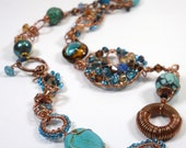 Teal Brown Southern Skies Necklace,  One of A Kind Handmade Wirework and Beads Necklace with Murano Glass, Wood, Copper and Turquoise