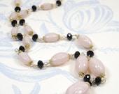 Vintage Pink Satin Glass Bead Necklace, Remodelled Upcycled 20s Pink Bohemian Satin Glass Necklace w Swarovski & Vermeil, Wirewrap Necklace