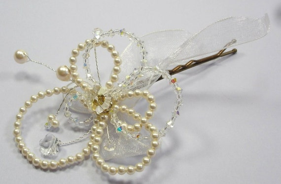 Handmade Wedding Accessory Pearl Hairpin, Dee Flower Hair Pin, Classic Bridal Hairpin, Swarovski Pearl and Crystal Hair Pin, Ready to Go
