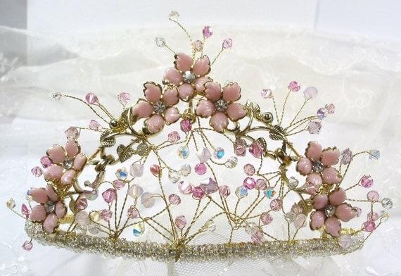 Handmade Wedding Tiara, Vintage Components Flower Heirloom Tiara, Handmade British Made One of a Kind Pink Wirework Tiara with Swarovski